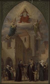 verherrlichung des hl.vincenz von paul (1581 - 1660) und der vinzentinerinnen, die sich der waisenkinder annehmen by josef gold