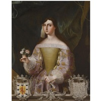 portrait of doña josefa de benavides, marquesa de villena y duquesa de escalona, holding a small bunch of flowers and a fan by miguel alonso de tovar