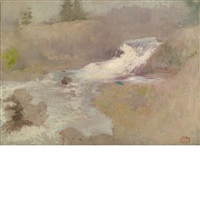 the cascade in spring by john henry twachtman