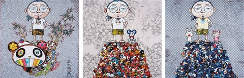 i met a panda family dob me on the red mound of the dead and kaikai kiki me on the blue mound of the dead 3 works by takashi murakami