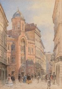 wien, ecke griechengasse/fleischmarkt, blick auf die griechenkirche zur heiligen dreifaltigkeit by franz alt