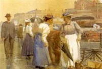 shoppers at a marketplace by harry spiers
