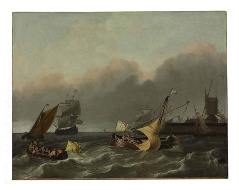 ships on the ij river off the leeuwenberg jetty and the windmill de bok by ludolf backhuysen the elder