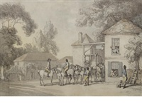 a coach and horses outside an inn by william samuel howitt
