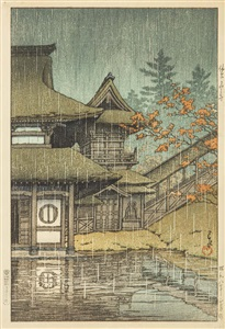 the yama temple, sendai by hasui kawase