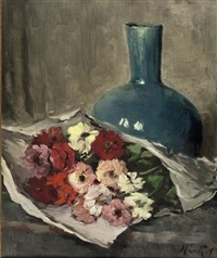 a still life with flowers and a blue vase by marie van regteren altena