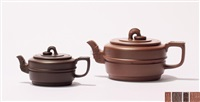 集玉壶 (一对) (a pair of zisha teapots) by zhou guizhen