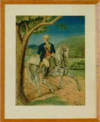 george washington in uniform astride his white steed holding a copy of the constitution by eugen fischer
