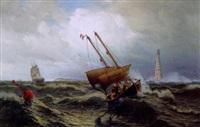 lootsenboot bei dem leuchtturm von cordouan vor der garonne-mündung by julius huth
