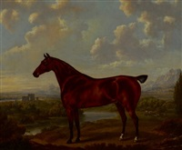 horse in a classical landscape by charles towne