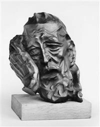einer der freunde hiobs (in die hand gestützter kopf) by joachim karsch