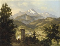 view of berchtesgarden and the watzmann, bavaria by eduard karl biermann