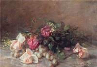 nature morte aux fleurs et raisins by marguerite dielman