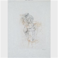 femme sur une chaise (3 works) by hans bellmer