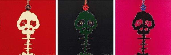 time bokan - missing in the eyes - red time bokan - black + moss green time bokan - pink (3 works) by takashi murakami
