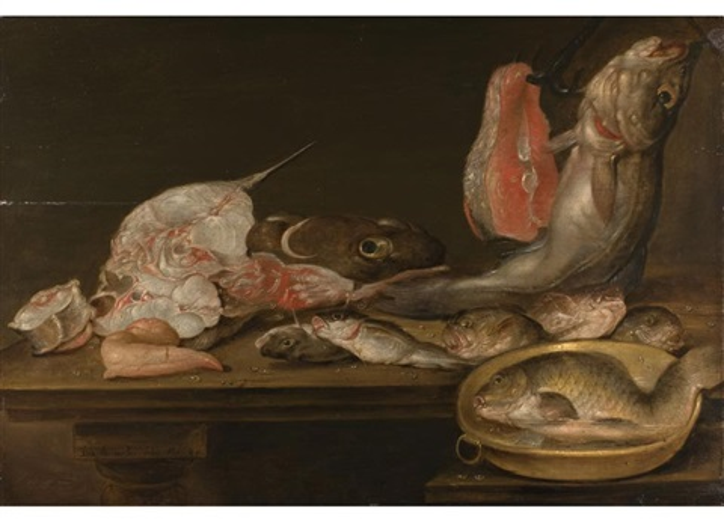 stilleben mit fischen und einer scheibe lachs auf tischplatte by alexander adriaenssen