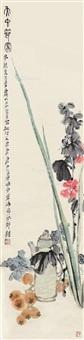 花卉 立轴 设色纸本 by tang yun and lai chusheng