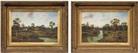 paesaggio fluviale con casa e paesaggio con gregge (2 works) by g. thompson