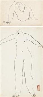 坐着的裸女;及站着的裸女 (共两件) (2 works) by sanyu
