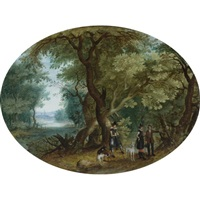 hunters with their dogs in a wooded landscape by isaac van oosten
