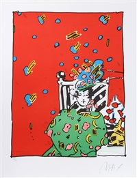 lady in green by peter max