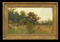 harvester in a meadow by george vicat cole