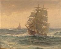 ship full sail at high sea by theodore victor carl valenkamph