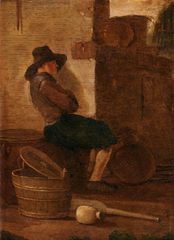 vilande man vid husvägg by egbert lievensz van der poel