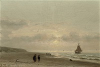 on the beach by sunset by johannes joseph destree