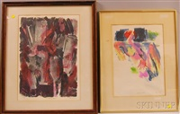 spring nude and two standing figures (2 works) by gerson leiber