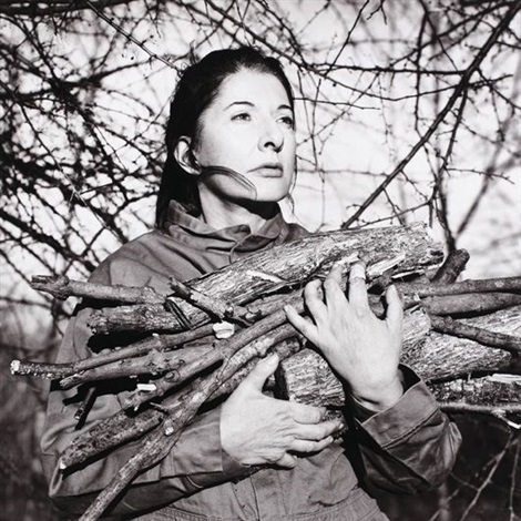 portrait with firewood by marina abramović