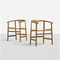 armchairs, pair by hans j. wegner