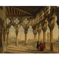 view from the porch of the palazzo ducale, venice, towards san giorgio maggiore by giovanni migliari