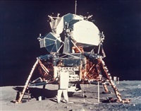 "triptych: buzz aldrin unpacking scientific equipments from the lm ""eagle"", apollo 11, july 1969 by neil armstrong"