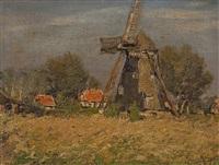 idyllische landschaft mit windmühle by erwin kroner