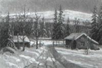 vinterlandskap med timmerstugor by einar krüger