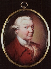 a gentleman with powdered hair, wearing plum-coloured coat, fur stole and white stock by henry spicer