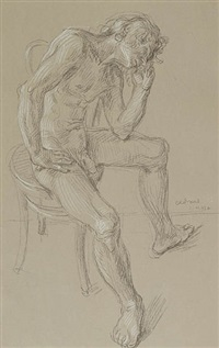seated male nude (nm 93a) by paul cadmus
