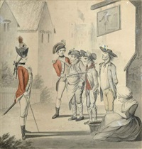 recruits, outside the the old fortune inn (+ 3 others, handcolored etching and pen and ink and watercolor on paper, lrgr; 4 works) by henry william bunbury