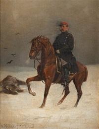 preussischer soldat zu pferd im bittersten winter by emil volkers