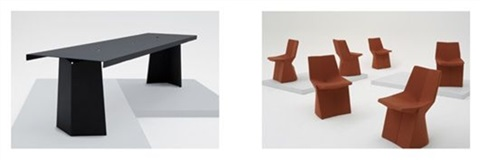 prototype pallas table and set of six production mars chairs by konstantin grcic