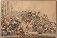 kavalleriegefecht von ungarischen husaren und kosaken - episode aus dem russischen feldzug 1812 by jacob (placidus) altmutter