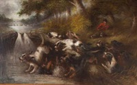 river landscape with huntsman by edward armfield