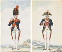 un grenadier jouant de la flûte (+ un officier, coiffé d'un bicorne, jouant de la flûte à bec; pair) by nicolaus hoffmann