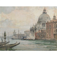 on the grand canal with the basilica della salute, venice by angelo brombo
