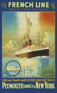 french line, plymouth direct to new york (poster) by harry hudson rodmell