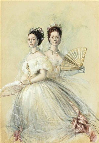 portrait of czarina maria feodorovna and her sister alexandra princess of wales by franz xaver winterhalter