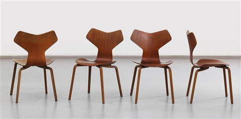 grand prix chairs mod 4130 set of 4 by arne jacobsen
