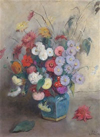 still life of summer flowers in a blue vase by moricz goth