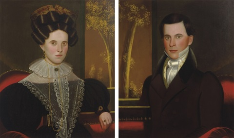 pair of portraits of a lady and a gentleman possibly martha coggswell and franklin colburn by john sherburne blunt
